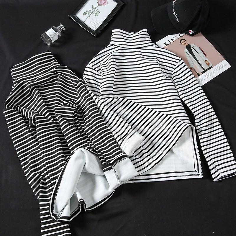 保暖小高领条纹打底衫